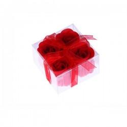 Fleurs de savon présentées dans une boîte avec ruban