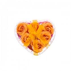 Petit panier en osier en forme de coeur avec 6 fleurs de savons