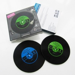 """Lot de 2 dessous de verres """"vinyl"""" + boîte cadeau PVC"""