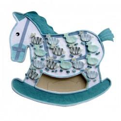 Présentoir à dragées cheval + 15 boîtes bleues