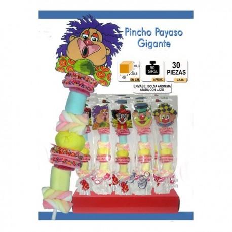Brochette de bonbons Clown dans un sac cadeau.