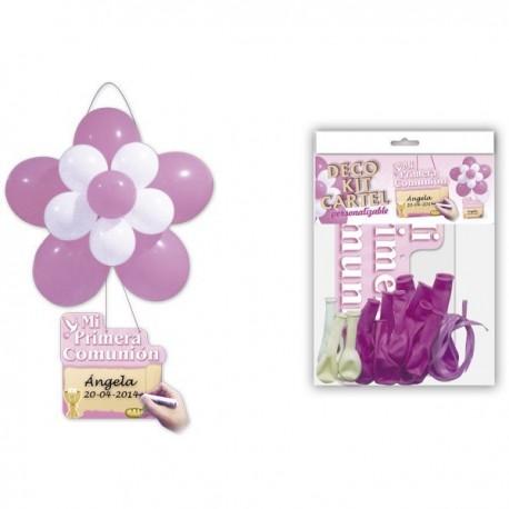 """Kit fleurs en ballon + Affiche """"Communion"""" Rose"""